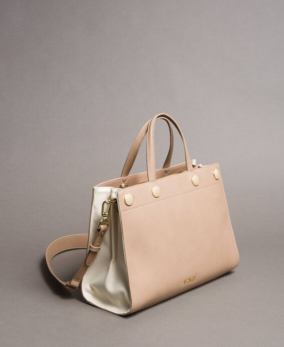 Faux leather and canvas shopping bag