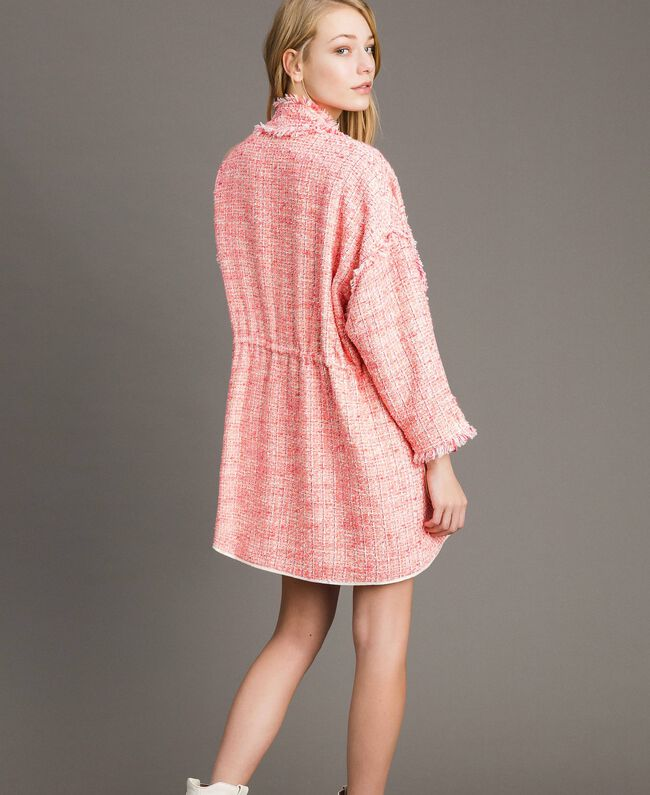 """Blouson oversize en tweed orné de franges Multicolore Bouclé Rose """"Rose Sauvage"""" Femme 191TP2522-03"""