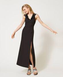 Long cady dress with ruffles Black Woman 211TQ213A-02