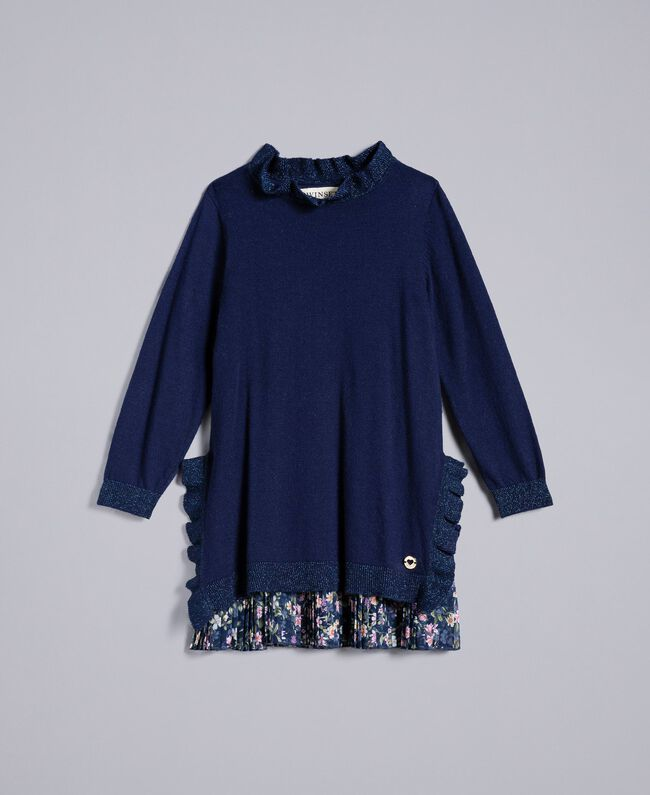 Knitted dress with ruches Bicolour Blackout Blue / Micro Flower Child FA83B1-01