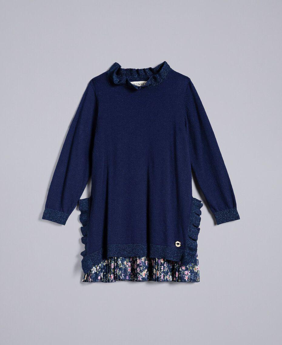 Трикотажное платье с рюшами Двухцветный Иссиня-черный / Мелкий Цветок Pебенок FA83B1-01