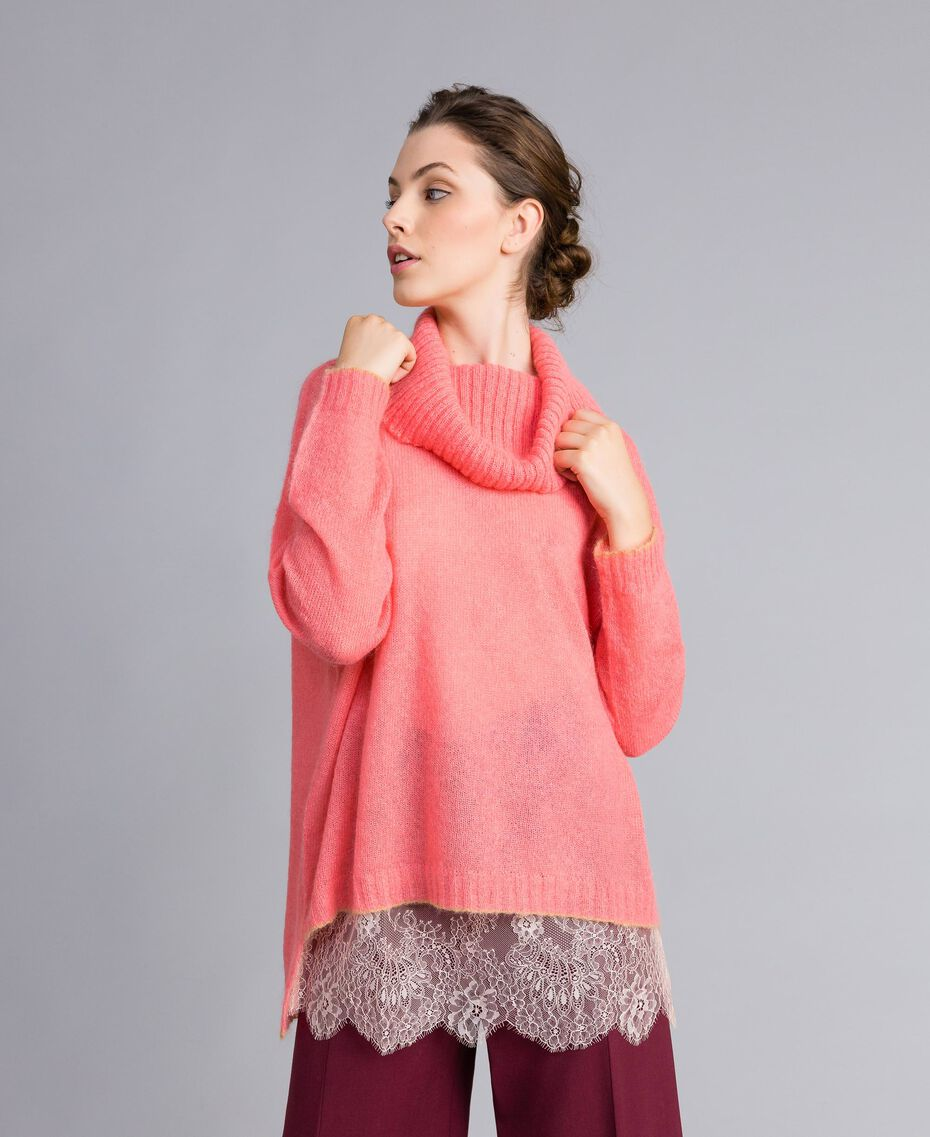Maglia in mohair con top in pizzo Rosa Royal Pink Donna PA836F-02