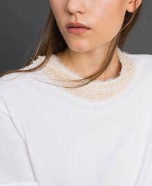 T-shirt with pearl jewel neckline White Woman 192TT2562-05