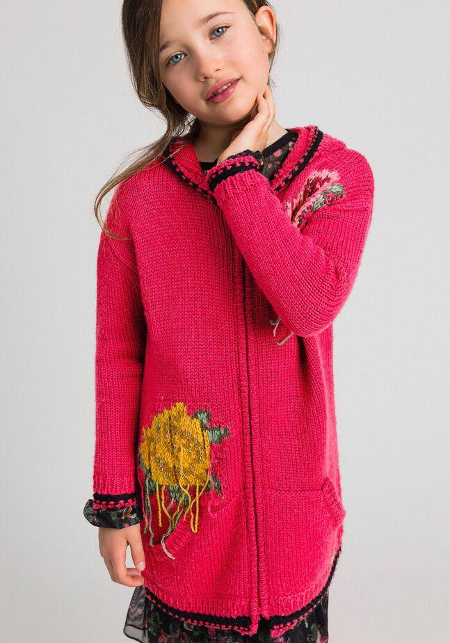 Maxicardigan aus Wollmischung mit Rosenintarsien