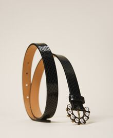 Leather belt with jewel buckle Black Python Print Woman 202TO5015-01
