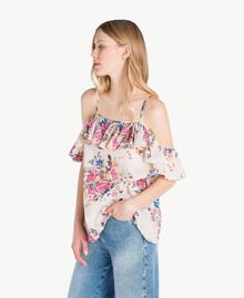 "Printed top ""Rose Bouquet"" Flower Print Woman YS82PK-02"