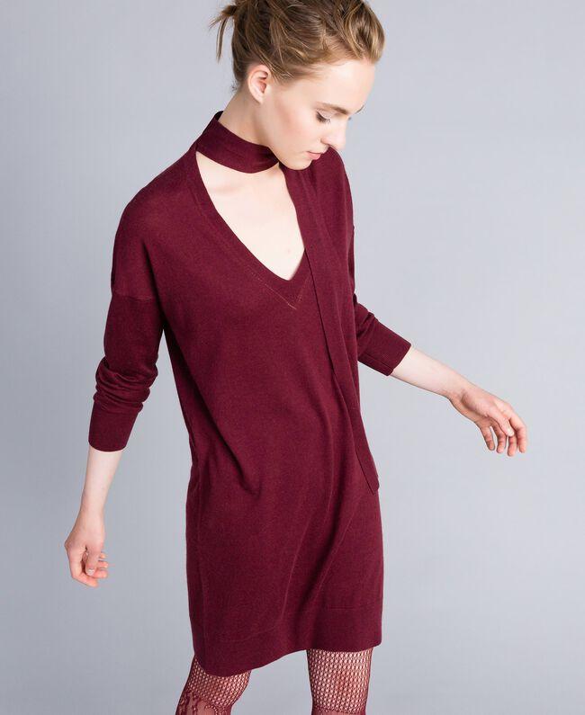 Kleid aus Seide und Kaschmir Bordeaux Frau PA83GE-01
