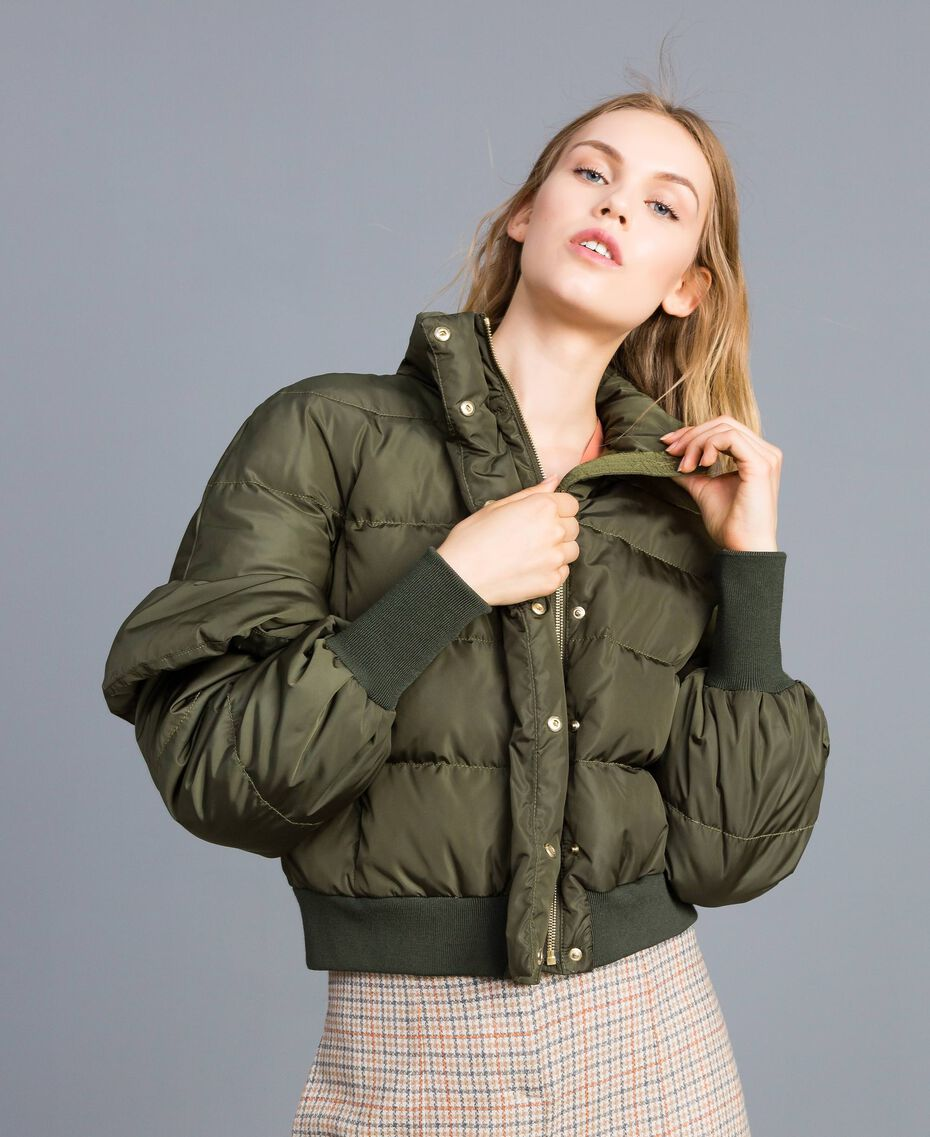 Short padded jacket with ruches Forest Green Woman TA82B5-02
