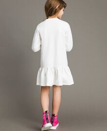 Fleece dress with lace and print White Child 191GJ2042-03