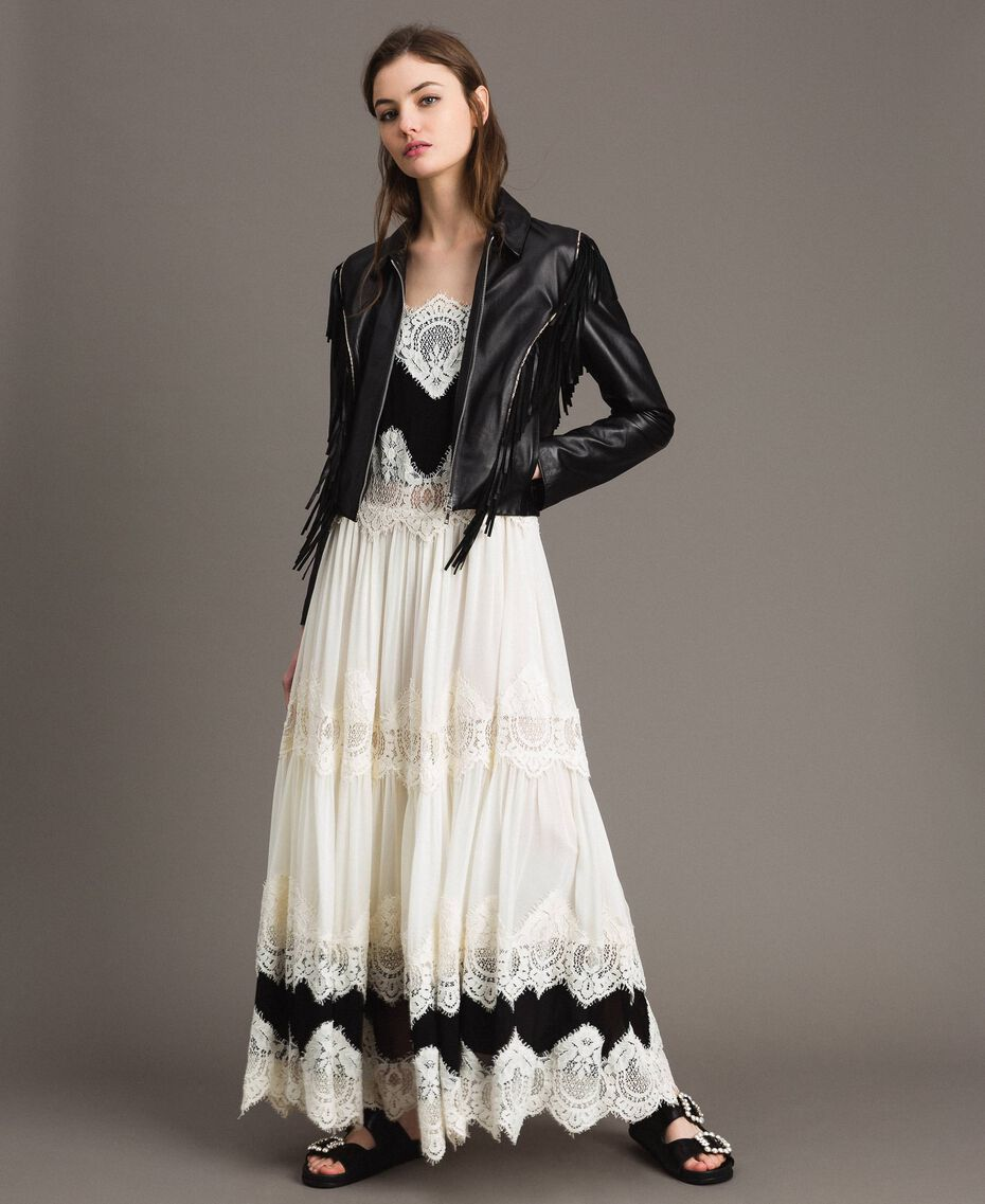 Robe longue en georgette agrémentée de dentelle Bicolore Blanc Neige/ Noir Femme 191TT2100-0T