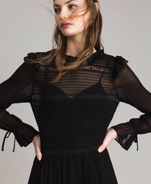 Georgette and lace dress Black Woman 191TP2127-01