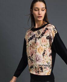 Floral and graffiti print jumper with rhinestones Flow Print / Vanilla Graffiti Woman 192MP3020-02
