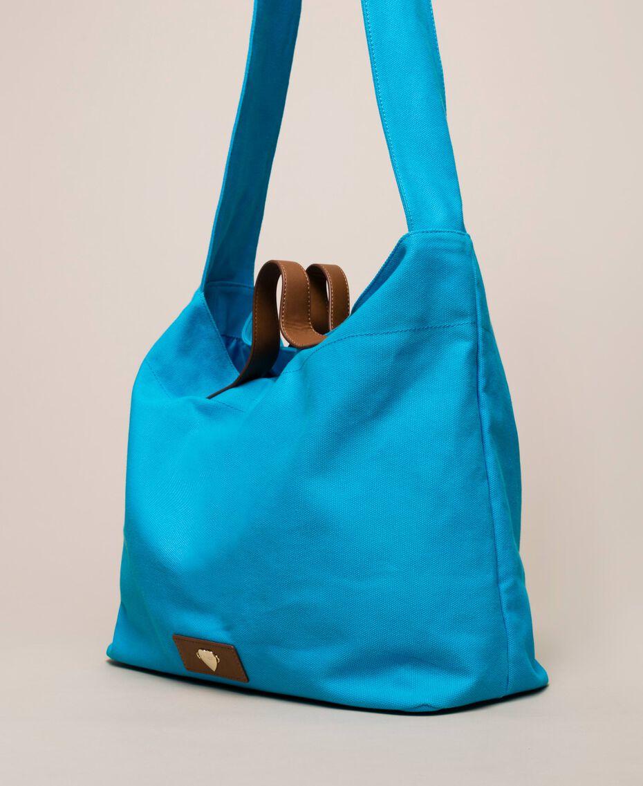 """Canvas shopper with shoulder strap """"Bay"""" Blue Woman 201LM7ZKK-02"""