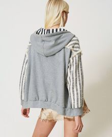 "Oversize striped hoodie ""Ivory Mat"" Grey / Blue Mixed Stripe Woman 211TT2060-04"