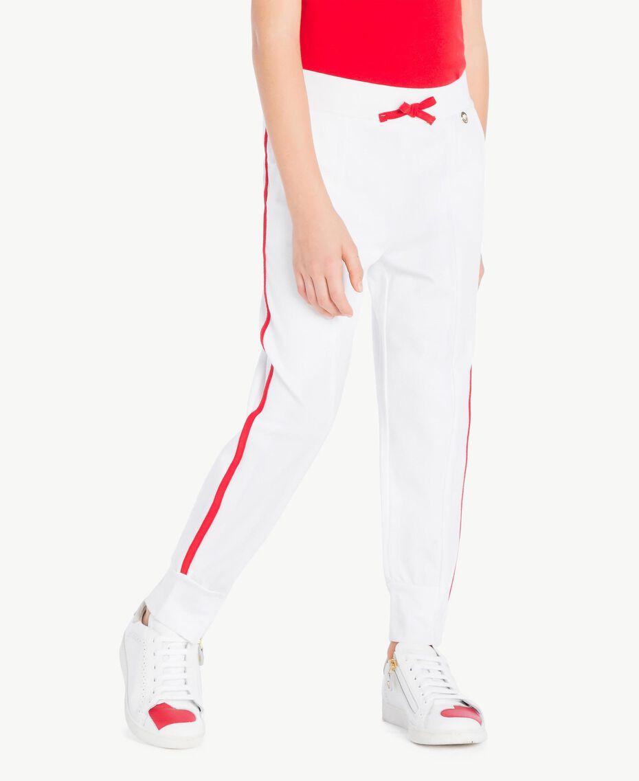 Pantalon de jogging Bicolore Blanc Papyrus / Rouge Grenadier Enfant GS82KC-02
