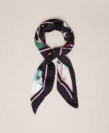 Floral print scarf Black Scarf Print Woman 201MA4303-01