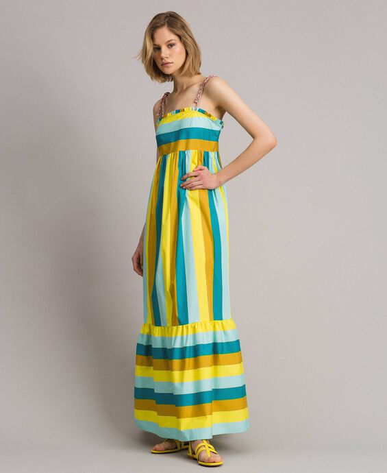 Robe longue en popeline à rayures multicolores