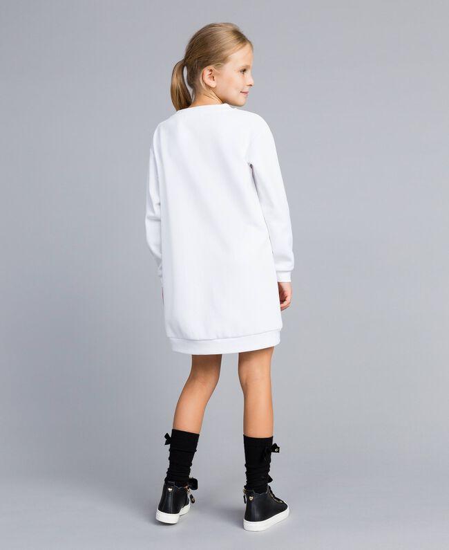 Minikleid aus Baumwollmischung mit Grafik Mattweiß Kind GA82LK-03