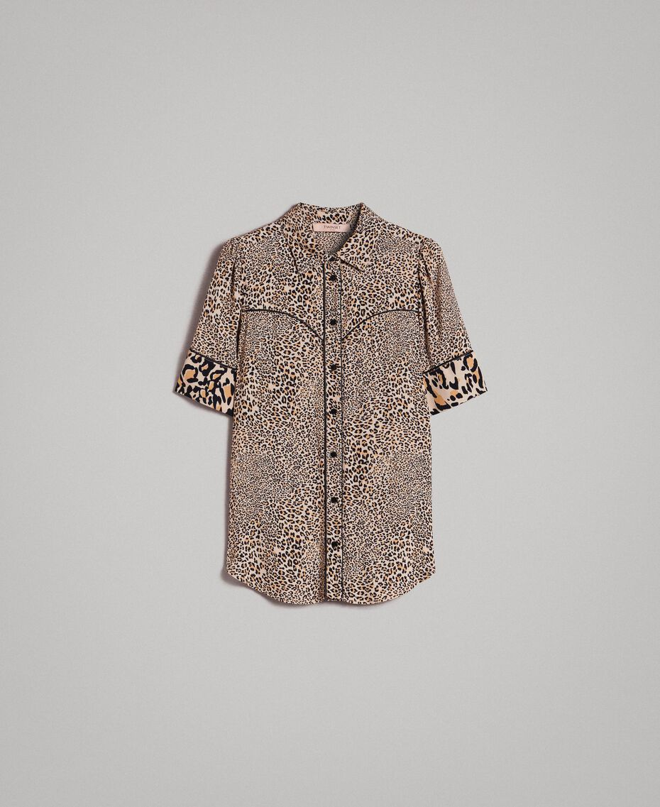 Animal print crêpe shirt Mixed Animal Print Woman 191TP2701-0S