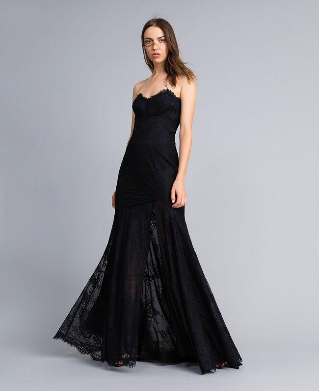 Robe longue en dentelle Noir Femme QA8TNN-01
