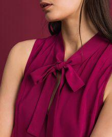 Blouse en crêpe georgette avec col lavallière Rouge Betterave Femme 192TP2383-04