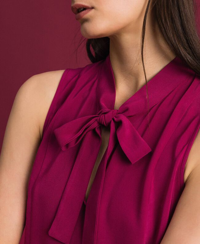 Georgette blouse with pussy bow Beet Red Woman 192TP2383-04
