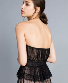 Tulle plumetis and lace long bustier dress Black Woman TA82XC-04
