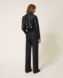 "Wool blend wide leg trousers Black / ""Lurex"" Gold Pin Stripe Woman 202TT2171-03"