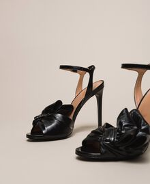 Patent leather sandals with maxi bow Black Cherry Woman 201TCP114-01