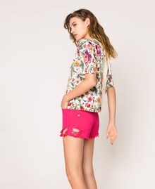 Pull-cardigan imprimé et brodé Imprimé Fleurs Sugar Coral Femme 201TT3170-03
