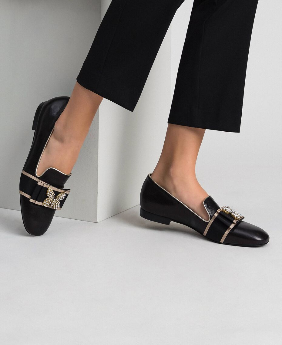 Leather loafers with embroidered band Black Woman 192TCP12G-0S