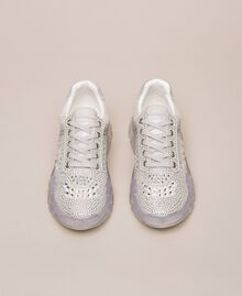 Suede running shoes with rhinestones White Woman 201MCT042-05