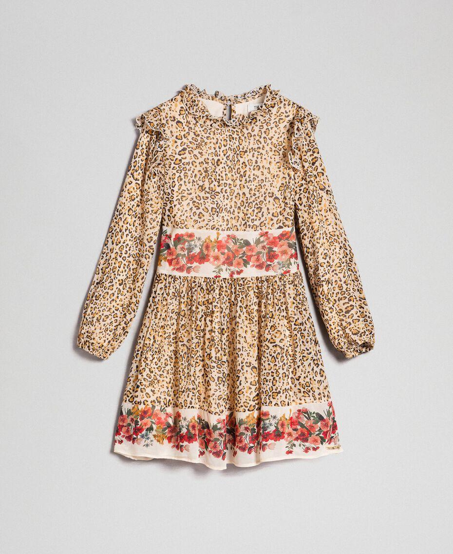 Kleid aus Georgette mit Animal- und Blumenprint Print Leopard / Blumen Kind 192GJ2572-0S