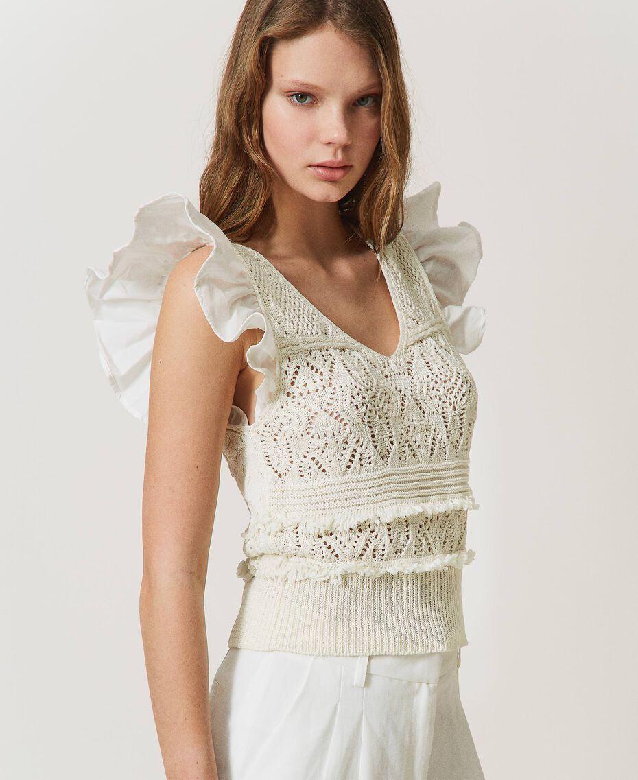 Top de punto crochet con flecos White Nieve Mujer 211TT3110-03