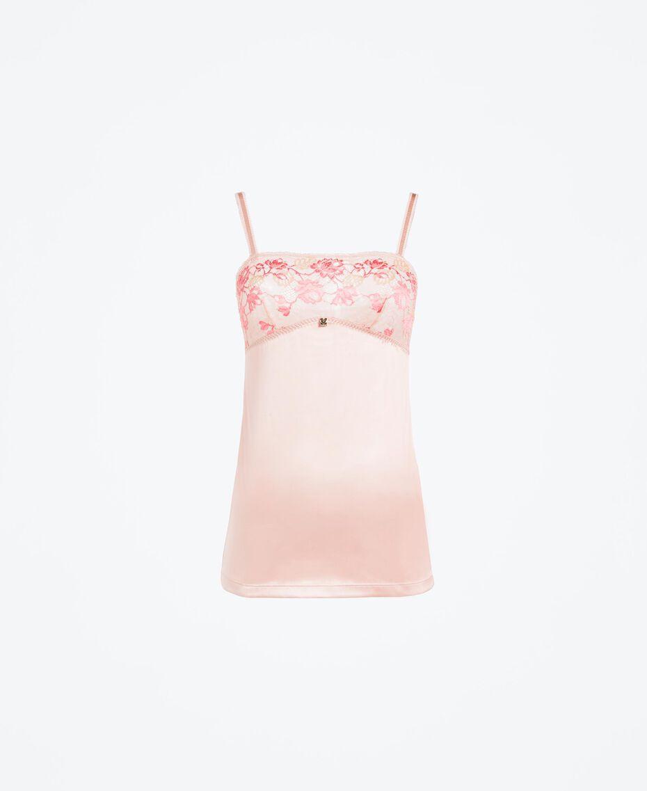 Top lingerie avec empiècement en dentelle bicolore Bicolore Rose Royal / Marron «Amber Dust» Femme IA8AAA-01