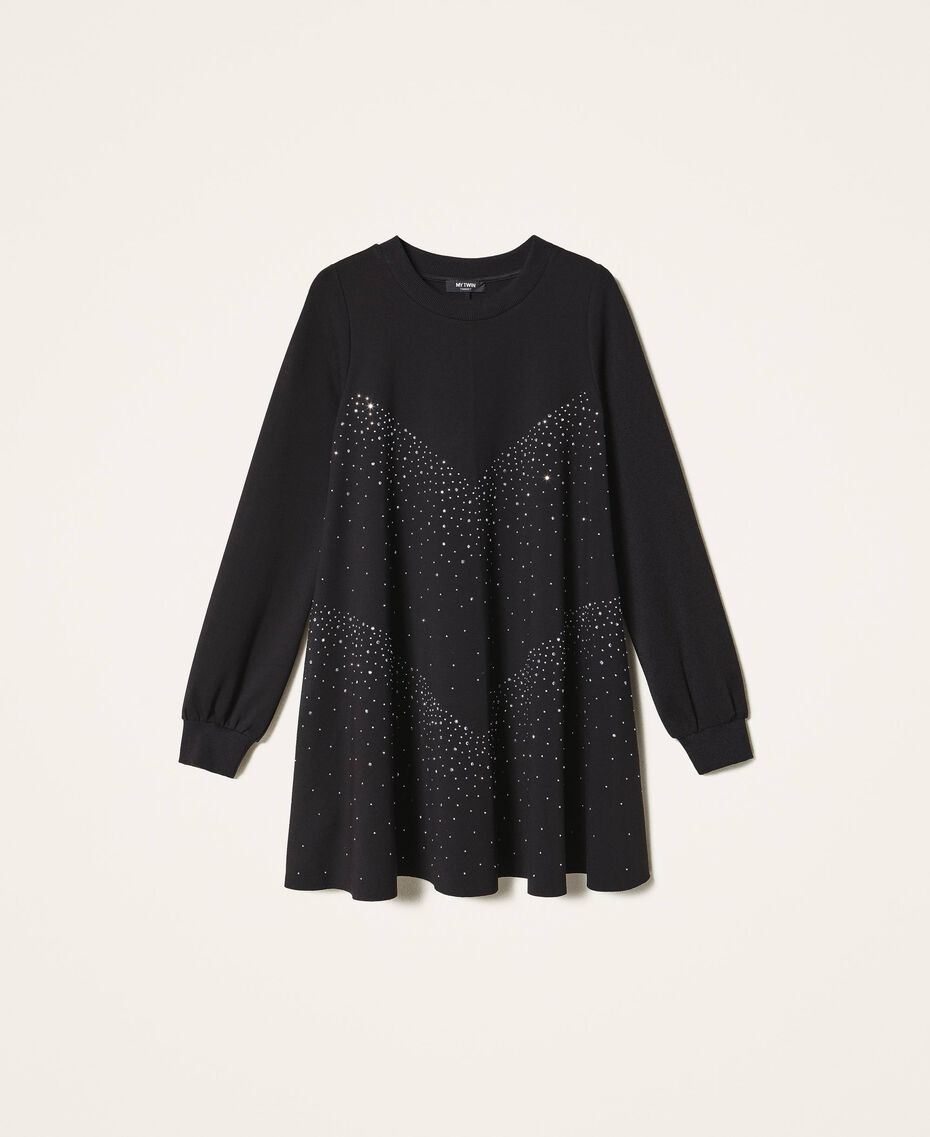 Dress with studs and rhinestones Black Woman 202MT2152-0S