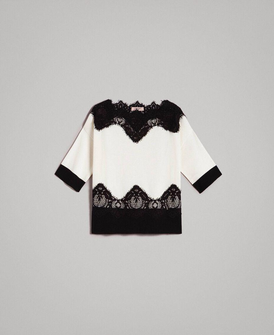 Pullover mit Spitzendetails Zweifarbig Schneeweiß / Schwarz Frau 191TT3032-0S