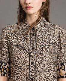 Animal print crêpe shirt Mixed Animal Print Woman 191TP2701-04