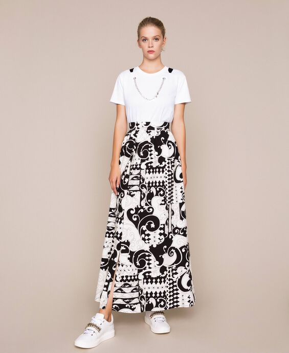 Printed canvas long skirt