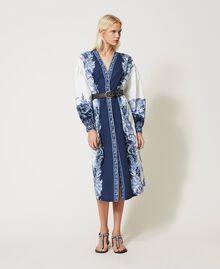 "Poplin shirt dress with print ""Patch Porcelain Blue And White"" Blue Woman 211TT2195-0T"