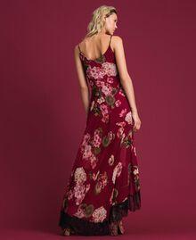 Abito sottoveste in creponne con stampa a fiori Stampa Rosso Beet Geranio Donna 192TP2727-04