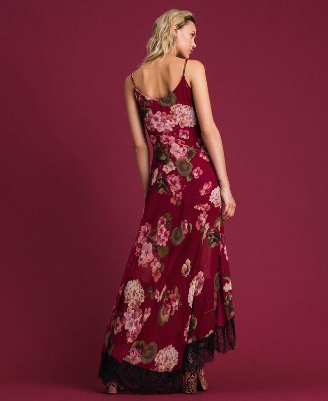 Robe nuisette en crépon avec imprimé floral Imprimé Rouge Betterave Géranium Femme 192TP2727-04