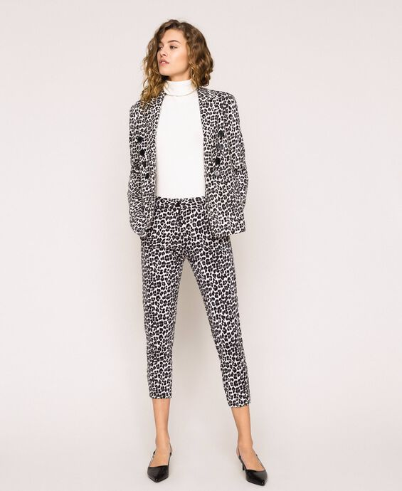 Animal print cigarette trousers