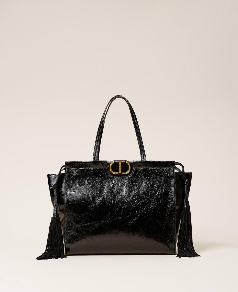 Shopper aus Leder mit Fransen Schwarz Frau 212TB7110-01