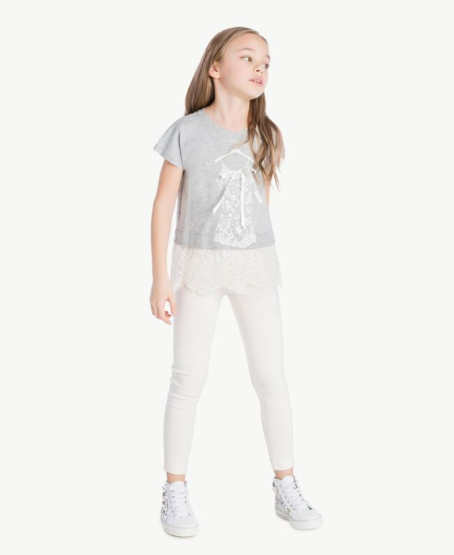 Lace T-shirt Two-tone Mid Melange Grey / Chantilly Child GS82XG-05
