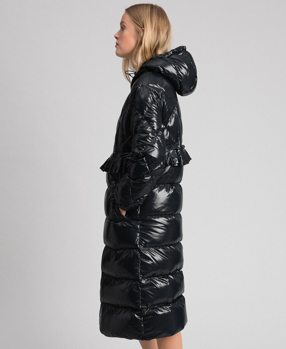 Long quilted padded jacket with real down Black Woman 192TP2501-01