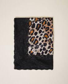 Fular con animal print y encaje Estampado Animal print Mujer 202LL4FTT-01