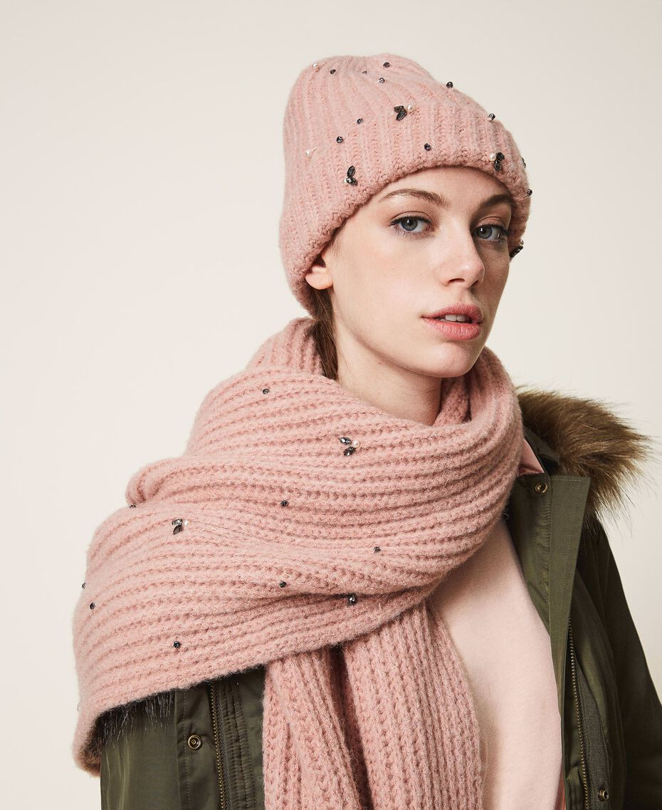 "Knit beanie with pearls and bezels ""Intense Nude"" Pink Woman 202TO5110-0S"