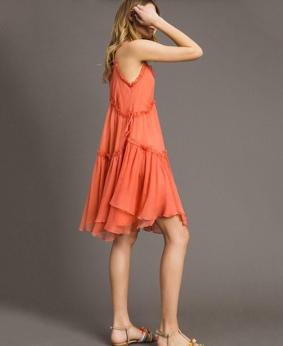 """Robe en soie avec volants Rouge """"Pomme Sauvage"""" Femme 191TT2422-02"""