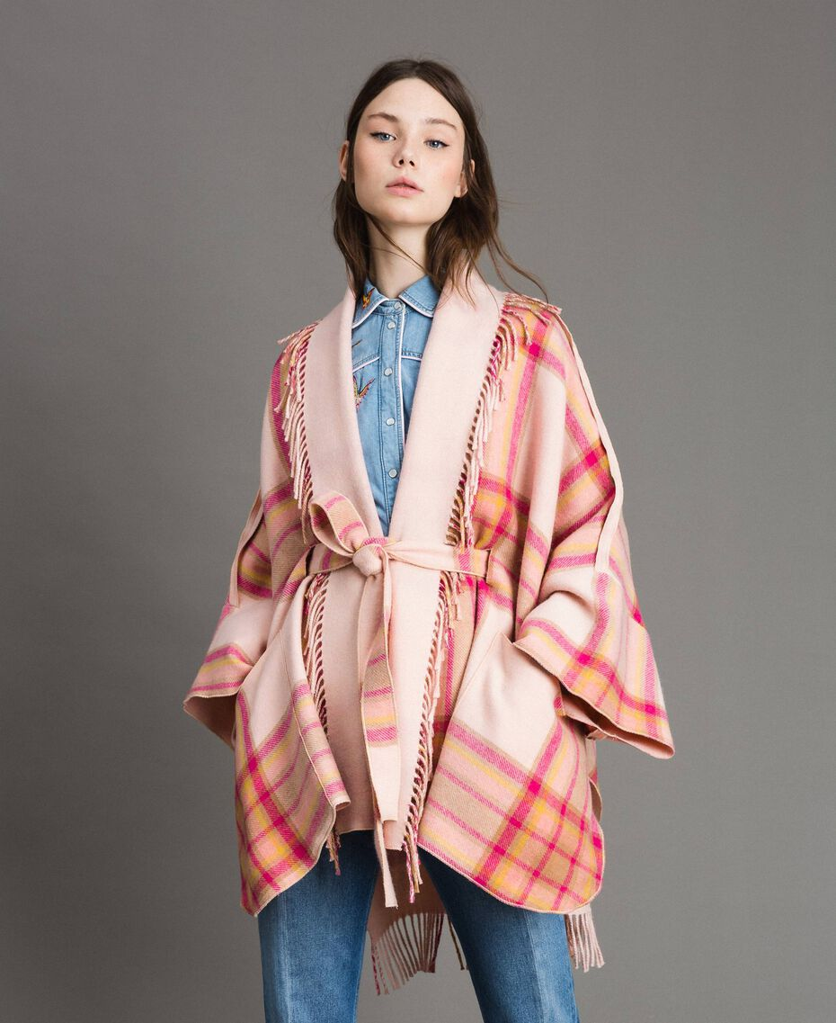 "Check wool cloth poncho ""Pink Check"" Woman 191TP2621-02"